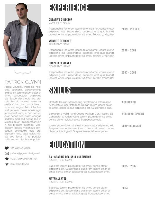 Top Resume best resume format 2016 Black And White Resume Template Preview