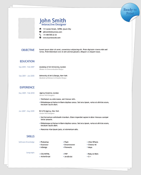 Resume template modern clean